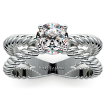 Twisted Rope Cross Split Shank Solitaire Ring in Platinum | Thumbnail 01