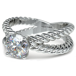 Twisted Rope Cross Split Shank Solitaire Ring in Platinum | Thumbnail 04