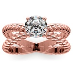Twisted Rope Cross Split Shank Solitaire Ring in Rose Gold   Thumbnail 01