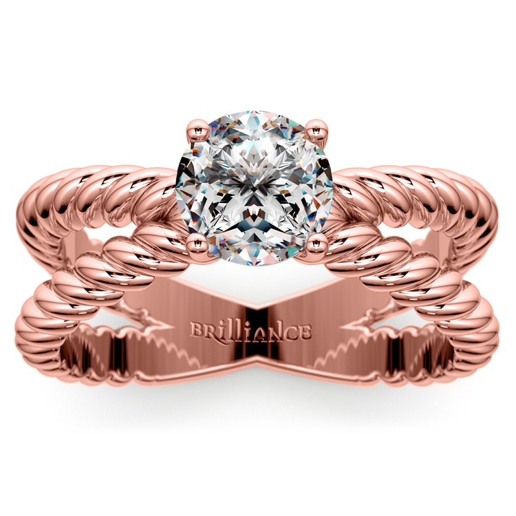 Twisted Rope Cross Split Shank Solitaire Ring in Rose Gold   01