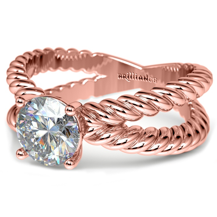 Twisted Rope Cross Split Shank Solitaire Ring in Rose Gold   04