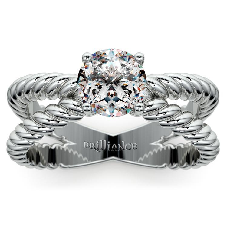 Twisted Rope Cross Split Shank Solitaire Ring in White Gold | 01