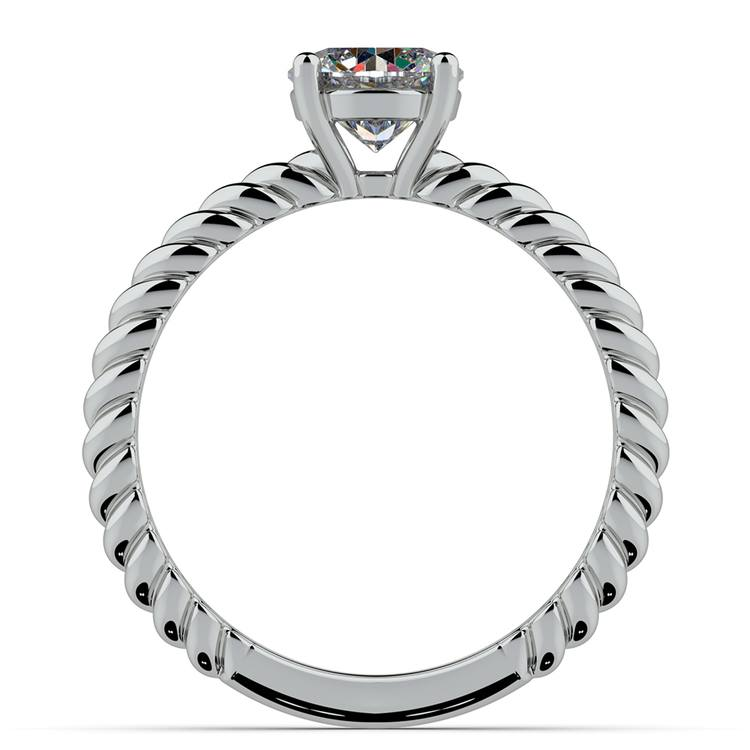 Twisted Rope Cross Split Shank Solitaire Ring in White Gold | 02