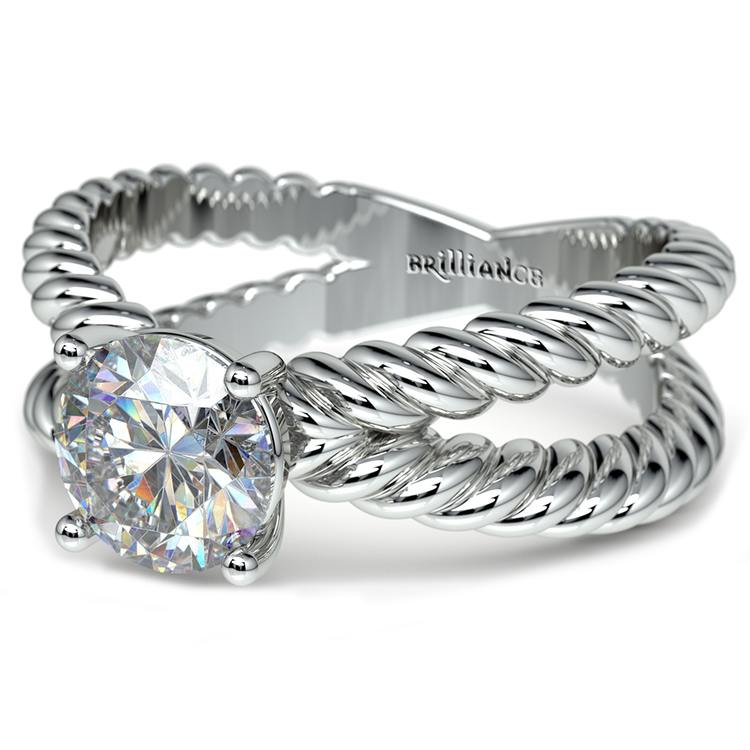 Twisted Rope Cross Split Shank Solitaire Ring in White Gold | 04