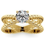 Twisted Rope Cross Split Shank Solitaire Ring in Yellow Gold | Thumbnail 01
