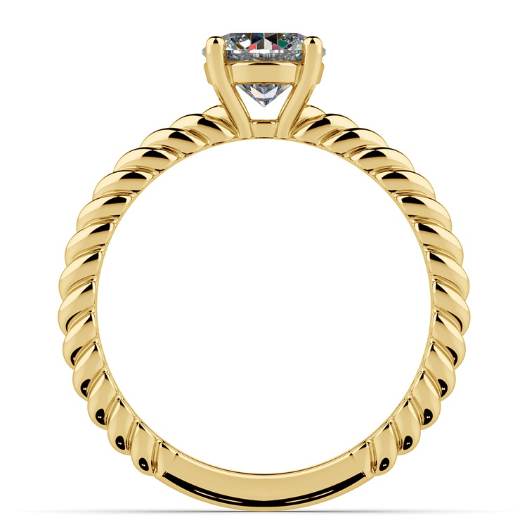 Twisted Rope Cross Split Shank Solitaire Ring in Yellow Gold | 02