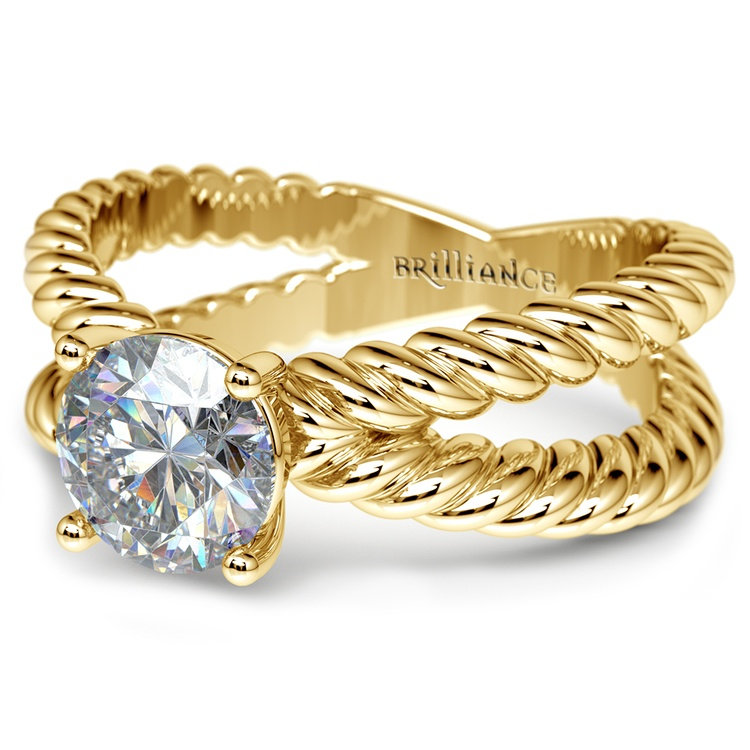 Twisted Rope Cross Split Shank Solitaire Ring in Yellow Gold | 04