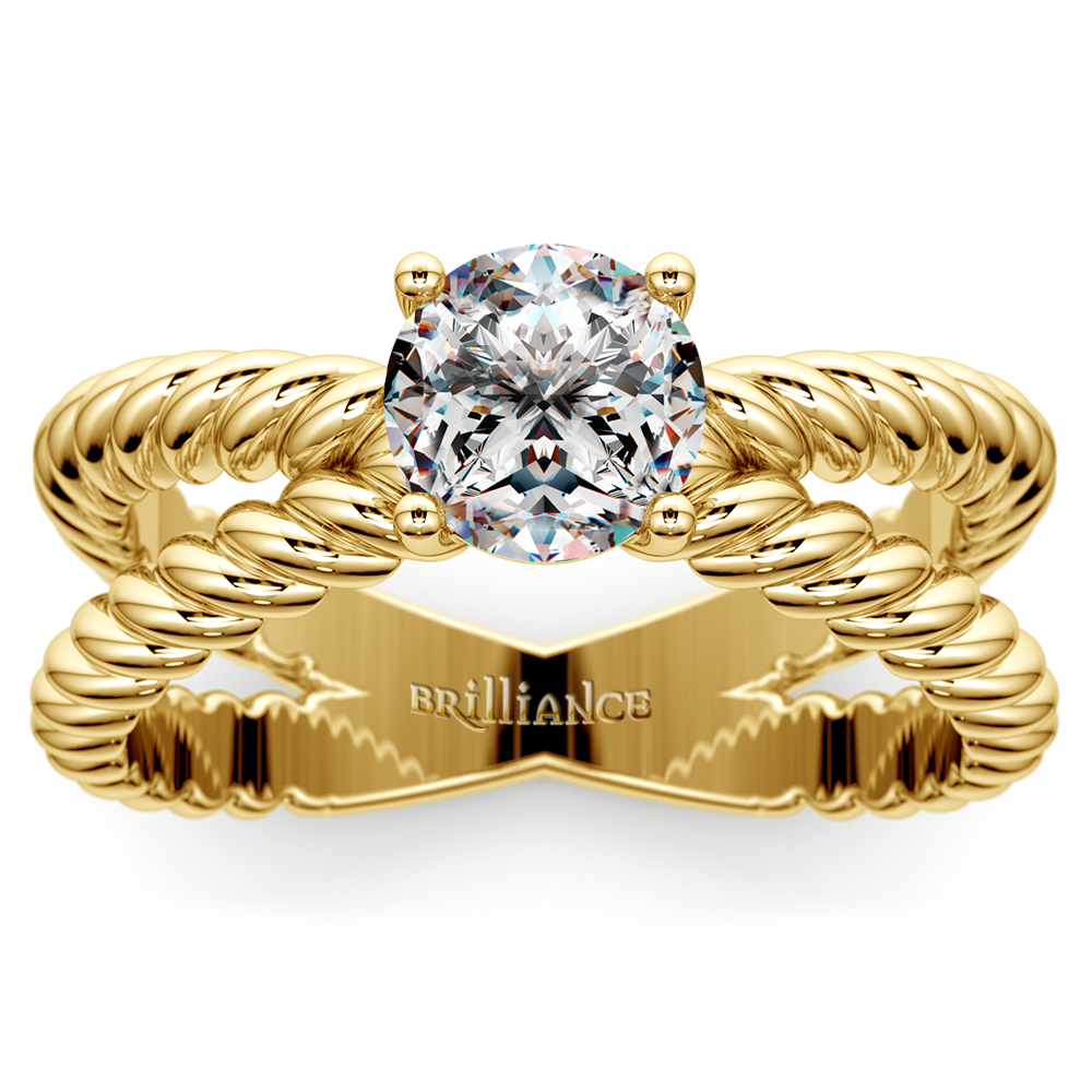 Twisted Rope Cross Split Shank Solitaire Ring In Yellow Gold
