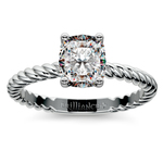 Twisted Rope Cushion Moissanite Engagement Ring in White Gold (5.5 mm) | Thumbnail 02