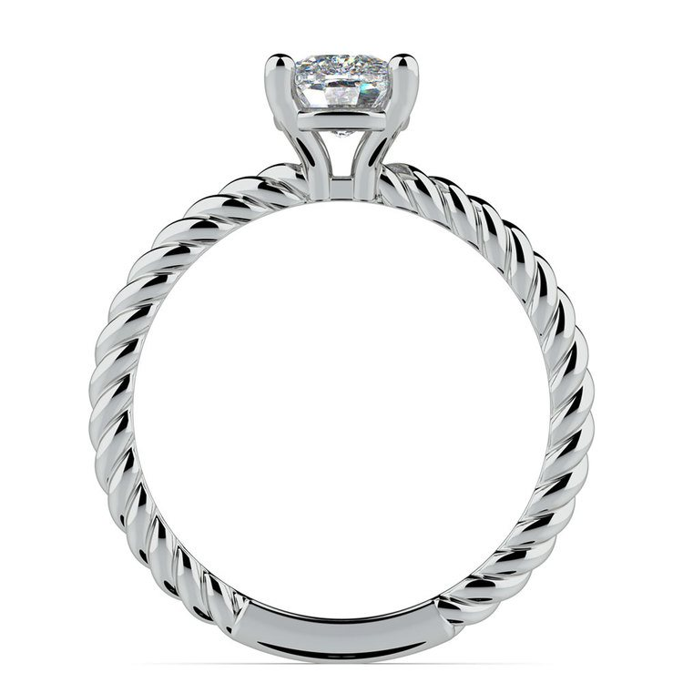 Twisted Rope Cushion Moissanite Engagement Ring in White Gold (5.5 mm) | 04
