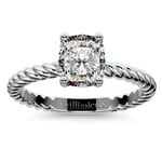 Twisted Rope Cushion Moissanite Engagement Ring in White Gold (6 mm) | Thumbnail 02