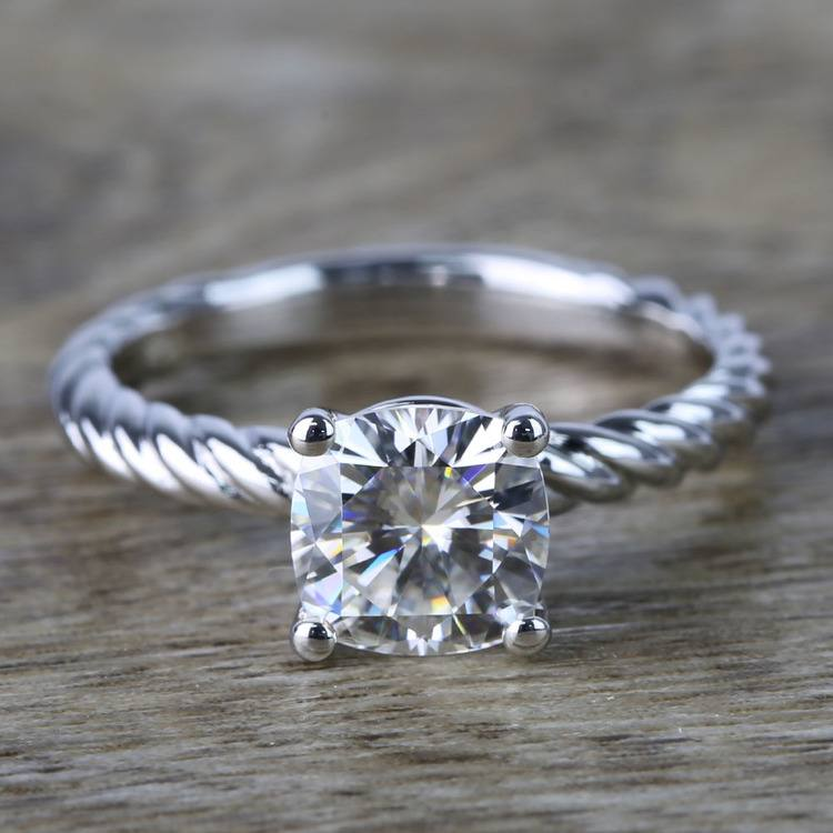 Twisted Rope Cushion Moissanite Engagement Ring in White Gold (7 mm)   05