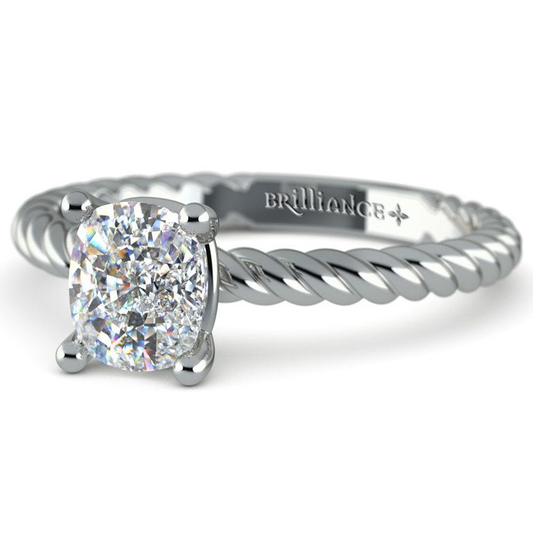 Twisted Rope Cushion Moissanite Engagement Ring in White Gold (7 mm)   01