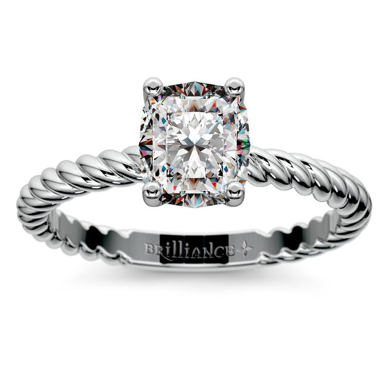 Twisted Rope Cushion Moissanite Engagement Ring in White Gold (7 mm)   02