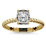 Twisted Rope Cushion Moissanite Engagement Ring in Yellow Gold (7 mm) | Thumbnail 02
