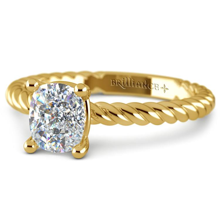 Twisted Rope Cushion Moissanite Engagement Ring in Yellow Gold (7 mm) | 01
