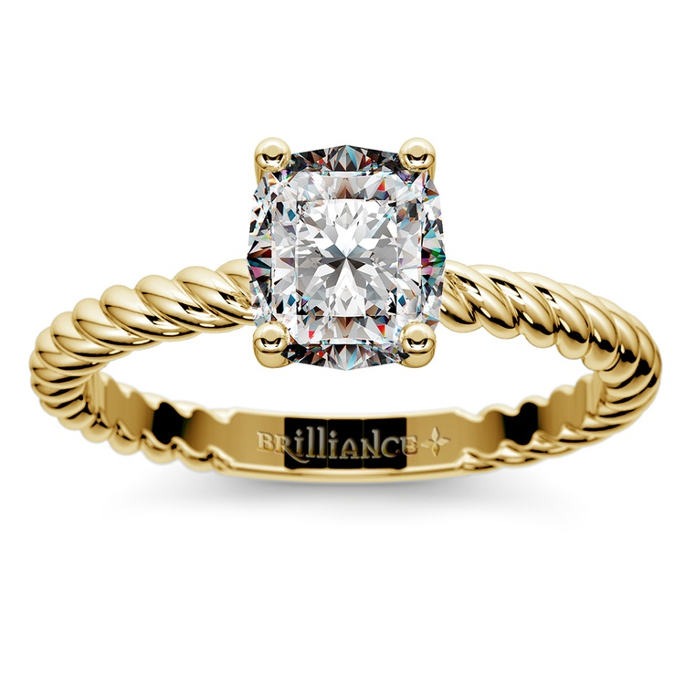 Twisted Rope Cushion Moissanite Engagement Ring in Yellow Gold (7 mm) | 02