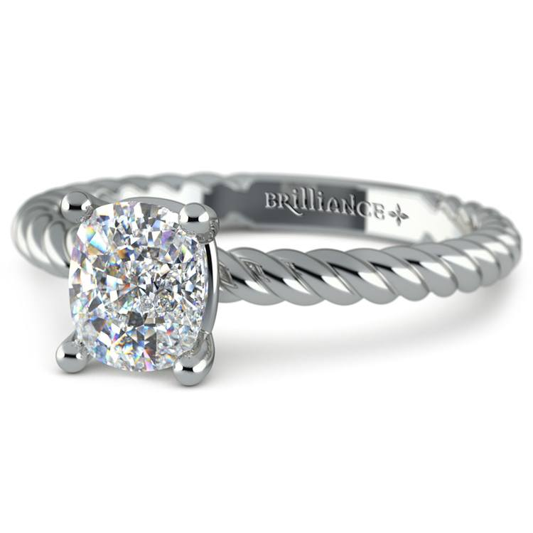 Twisted Rope Cushion Moissanite Engagement Ring in White Gold (8 mm) | 01