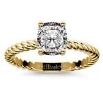 Twisted Rope Cushion Moissanite Engagement Ring in Yellow Gold (8 mm) | Thumbnail 02