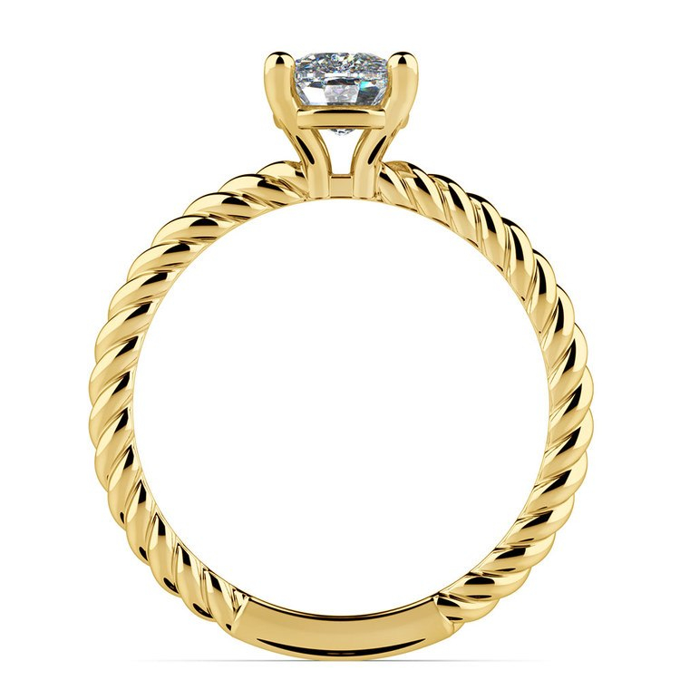 Twisted Rope Cushion Moissanite Engagement Ring in Yellow Gold (8 mm)   04