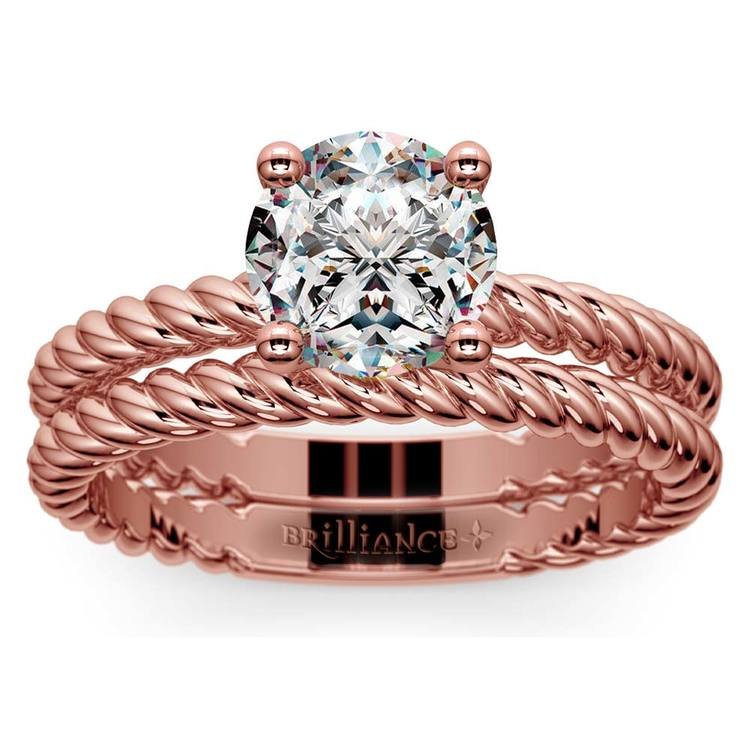 Twisted Rope Diamond Solitaire Bridal Set in Rose Gold | 01