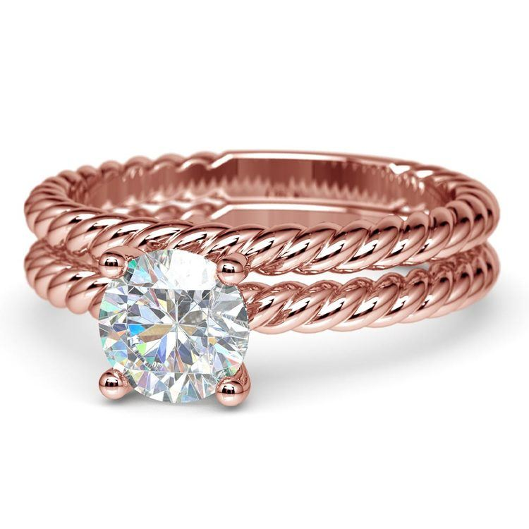 Twisted Rope Diamond Solitaire Bridal Set in Rose Gold | 04