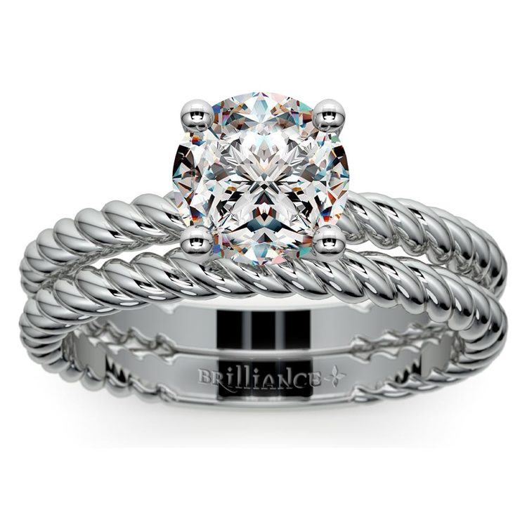Twisted Rope Diamond Solitaire Bridal Set in White Gold | 01
