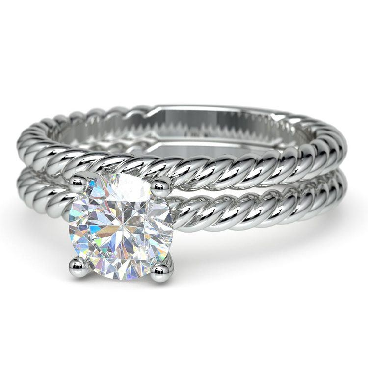 Twisted Rope Diamond Solitaire Bridal Set in White Gold | 04