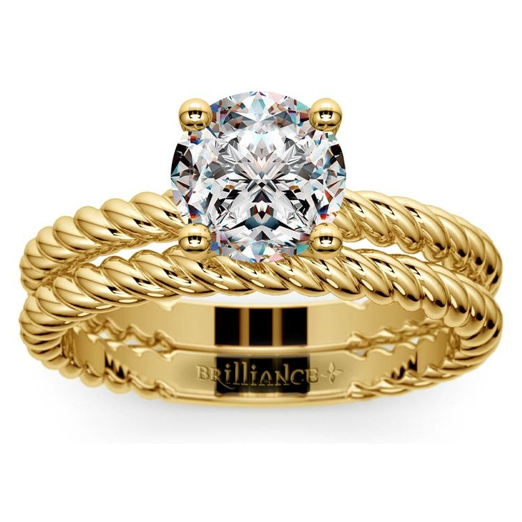 Twisted Rope Diamond Solitaire Bridal Set in Yellow Gold | 01