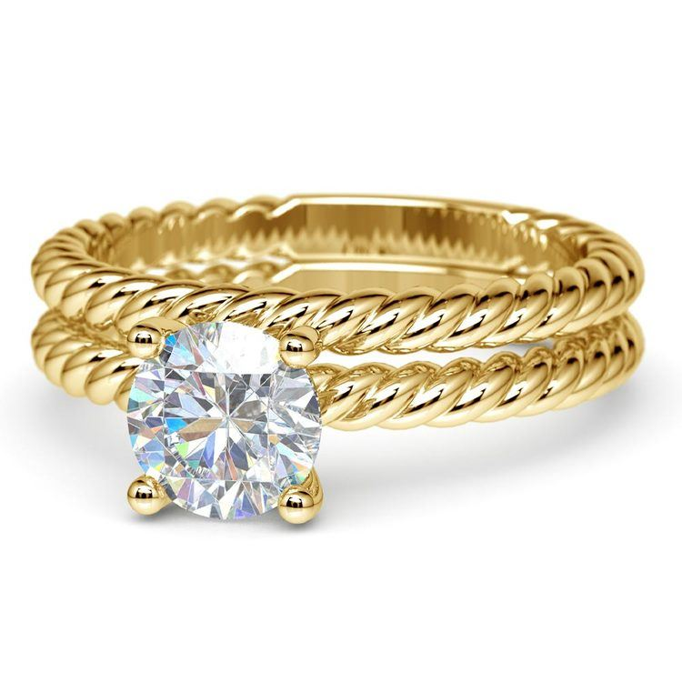 Twisted Rope Diamond Solitaire Bridal Set in Yellow Gold | 04