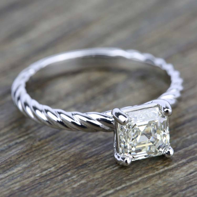 Twisted Rope Solitaire Engagement Ring in Palladium | 05