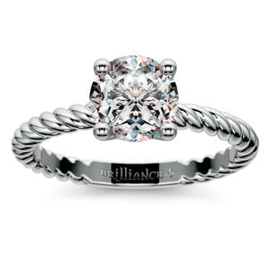 Twisted Rope Solitaire Engagement Ring in Platinum