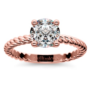 Twisted Rope Solitaire Engagement Ring in Rose Gold