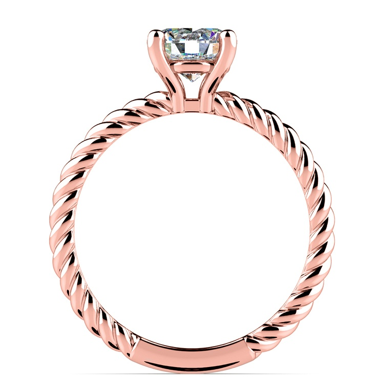 Twisted Rope Solitaire Engagement Ring in Rose Gold | 02