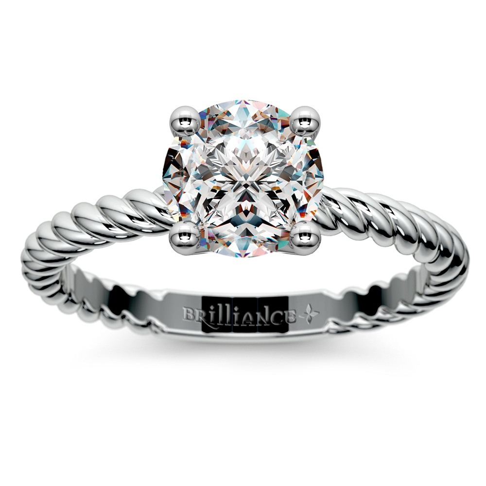Twisted Rope Solitaire Engagement Ring in White Gold