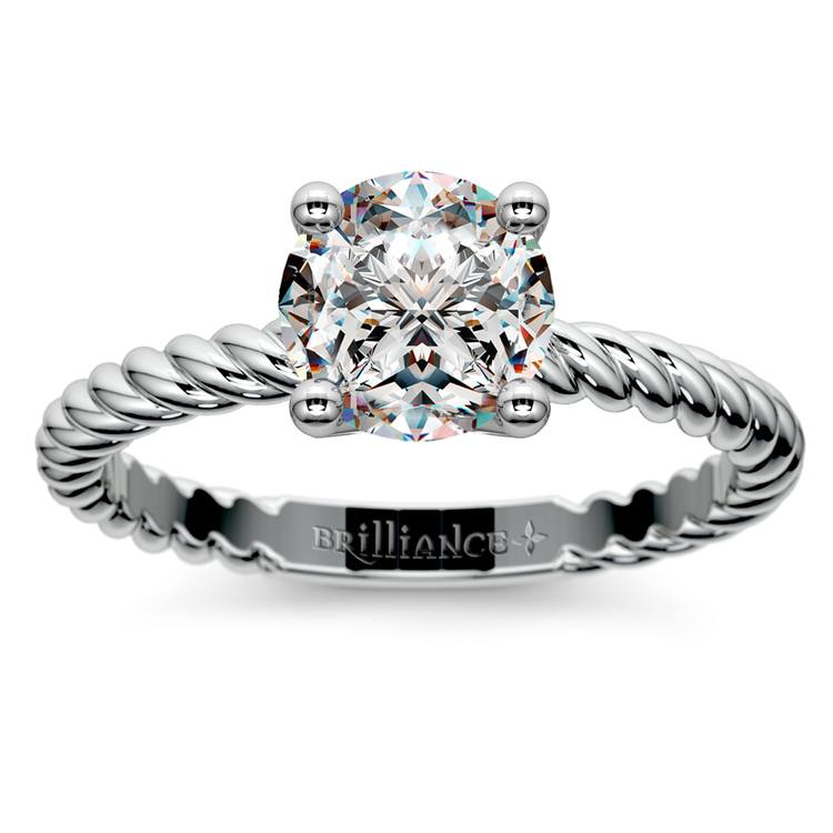 Twisted Rope Solitaire Engagement Ring in White Gold | 01
