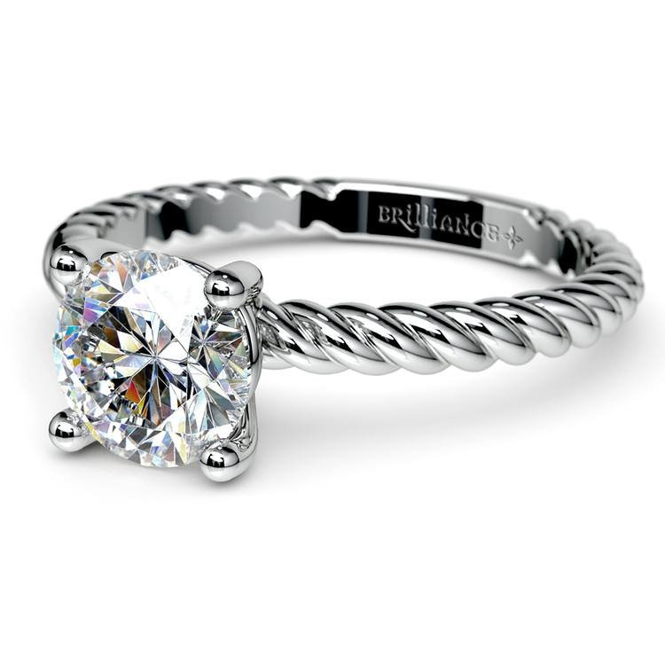 Twisted Rope Solitaire Engagement Ring in White Gold | 04