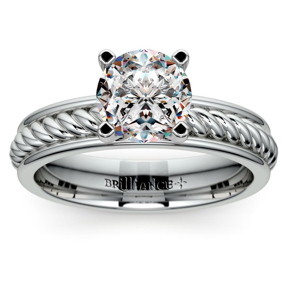 princess diamond set in the twisted rope solitaire engagement ring in tulip setting - Wedding Ring Cuts