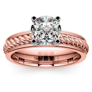 Twisted Rope Solitaire Engagement Ring with Tulip Setting in Rose Gold