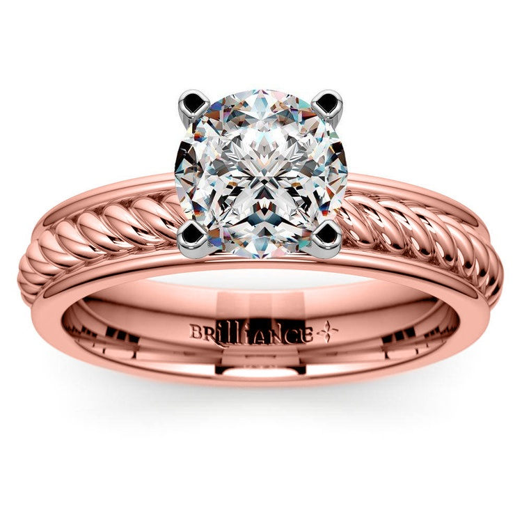 Twisted Rope Solitaire Engagement Ring with Tulip Setting in Rose Gold | 01