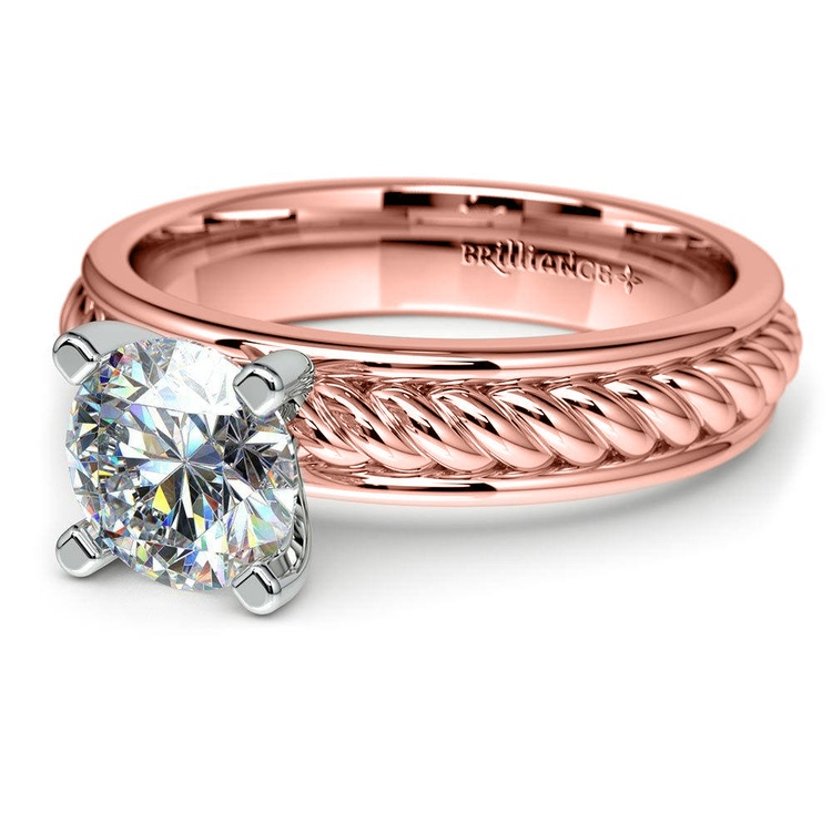Twisted Rope Solitaire Engagement Ring with Tulip Setting in Rose Gold | 04