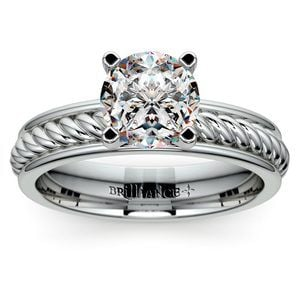 Twisted Rope Solitaire Engagement Ring with Tulip Setting in White Gold