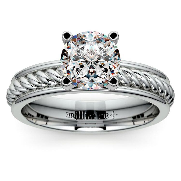 Twisted Rope Solitaire Engagement Ring with Tulip Setting in White Gold | 01