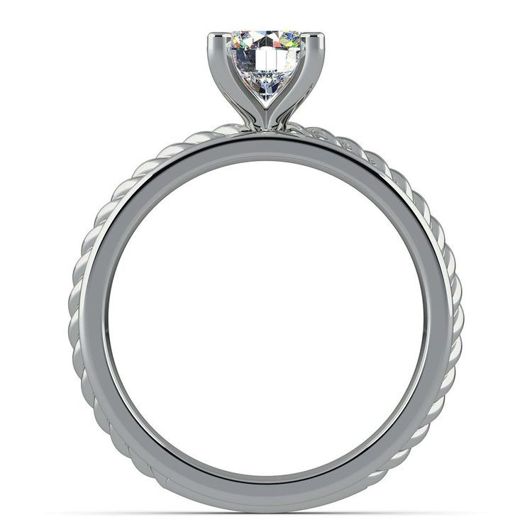 Twisted Rope Solitaire Engagement Ring with Tulip Setting in White Gold | 02