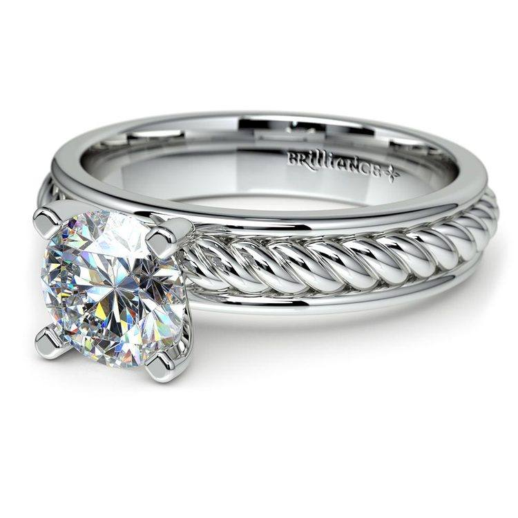 Twisted Rope Solitaire Engagement Ring with Tulip Setting in White Gold | 04