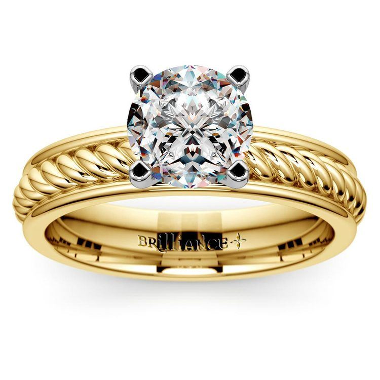 Twisted Rope Solitaire Engagement Ring with Tulip Setting in Yellow Gold   01