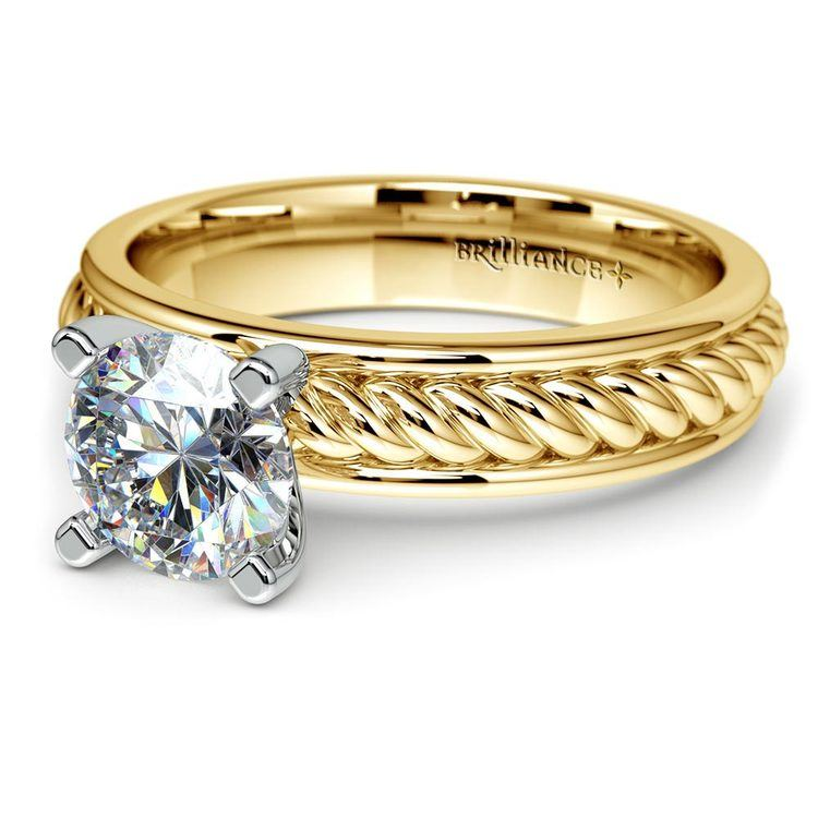 Twisted Rope Solitaire Engagement Ring with Tulip Setting in Yellow Gold   04