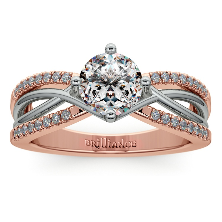 Twisted Split Shank Diamond Engagement Ring in Platinum and 14k Rose Gold | 01