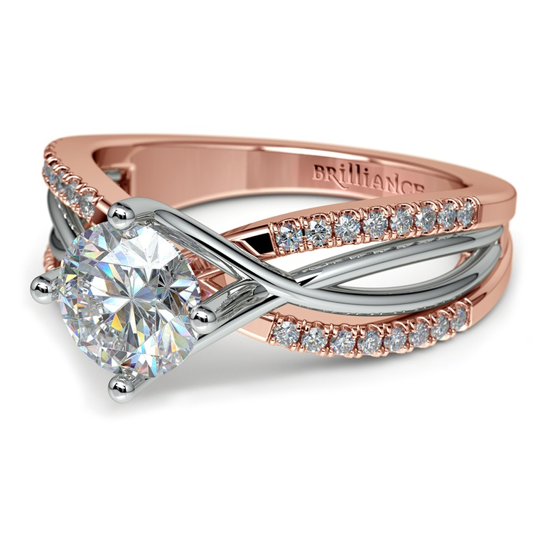 Twisted Split Shank Diamond Engagement Ring in Platinum and 14k Rose Gold | 04