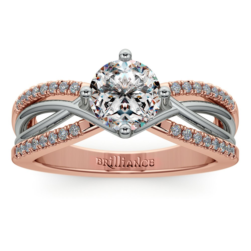 Twisted Split Shank Diamond Engagement Ring In Platinum And 14k Rose Gold